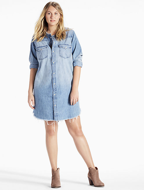 28ea8879f06 ... PLUS SIZE DENIM WESTERN SHIRT DRESS