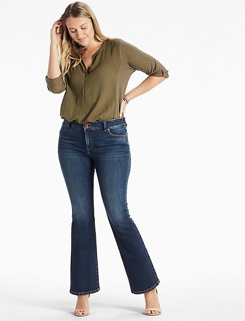 PLUS SIZE EMMA BOOTCUT JEAN IN DEMING,