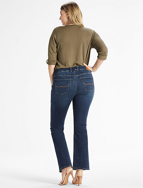 PLUS SIZE EMMA BOOTCUT JEAN IN DEMING, DEMING