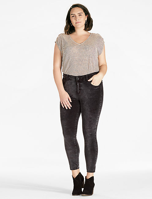 PLUS SIZE EMMA SUPER SKINNY JEAN IN BLACK VELVET,
