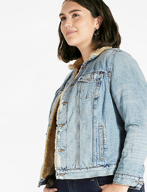 Plus Size Sherpa Trucker Jacket by Lucky Brand