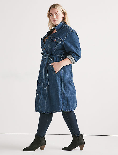 OVERSIZED DENIM TRENCH DRESS,