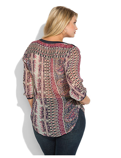 CLOVIS PAISLEY TOP, NAVY MULTI