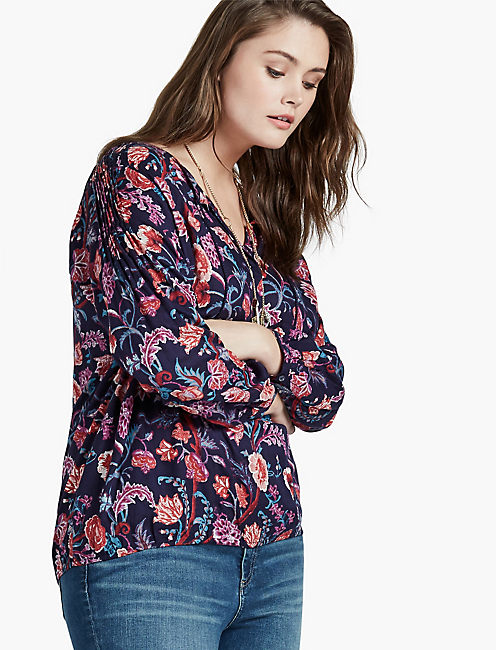 Floral V-Neck Tee (Plus Size) Lucky Brand Cheapest Price Cheap Online 2018 Cheap Online Many Kinds Of For Sale 2018 New rrri1h