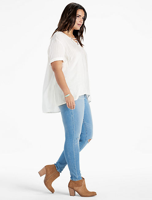Lucky Dobby Lace Up Top