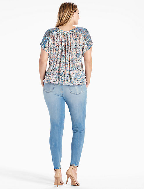 V-NECK PEASANT TOP,