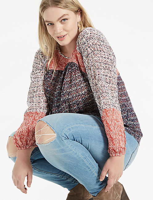 MIXED PRINT PEASANT TOP,