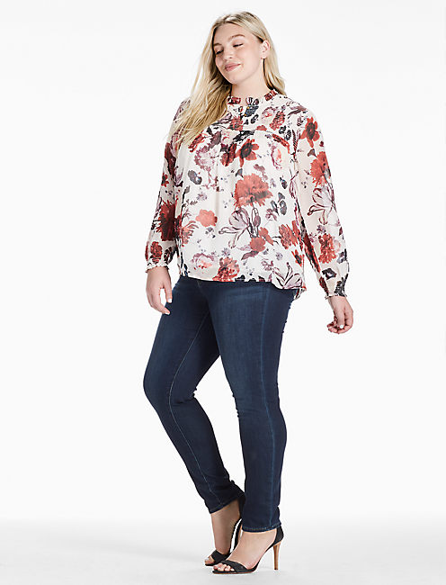 Lucky Open Floral Print Top