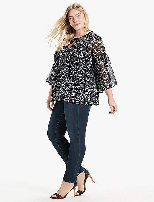 Lucky Printed Bell Sleeve Top