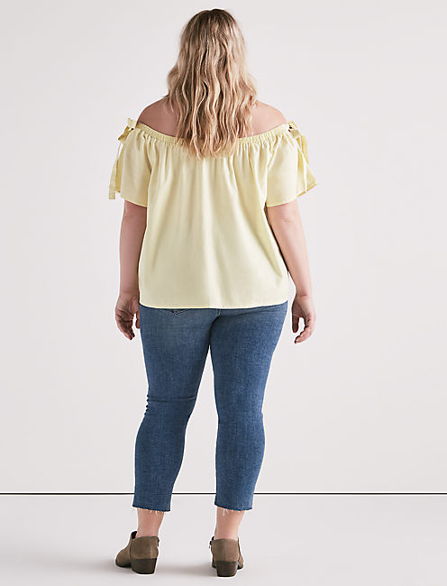 POPLIN OFF SHOULDER TOP,