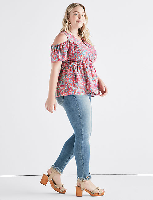 Lucky Printed Cold Shoulder Top