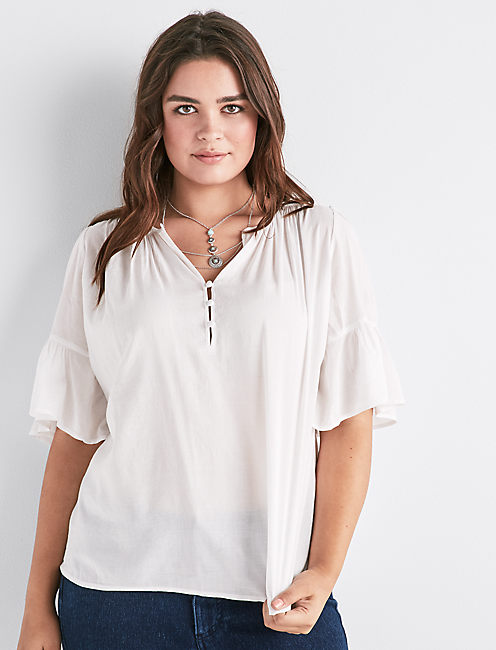 WHITE FLUTTER SLEEVE TOP,