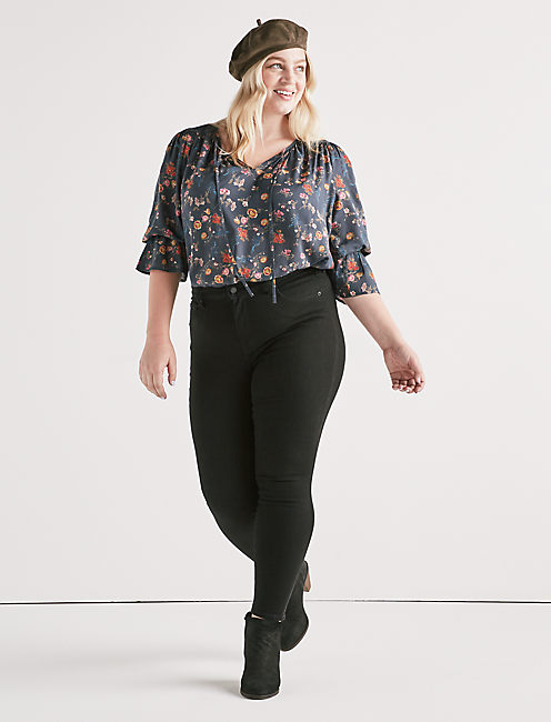 Lucky Printed Bell Peasant Top
