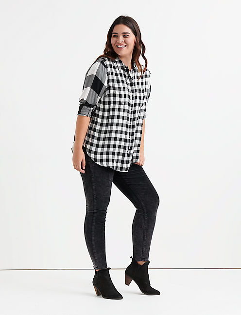 Lucky Pleat Black Mixed Plaid