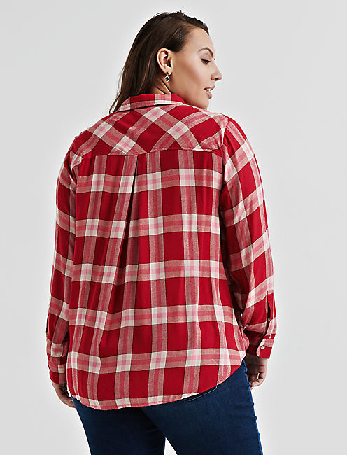 PLEAT BACK PLAID,