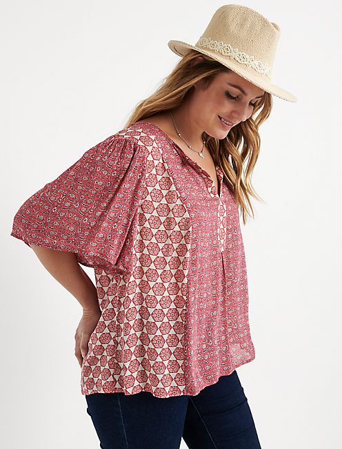 Tile Flutter Sleeve Top
