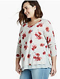 FLORAL PRINT PULLOVER SWEATER,