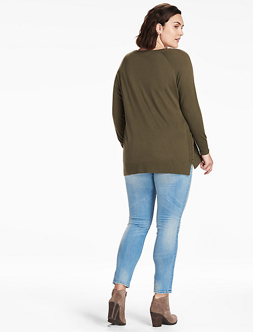 LACE UP DETAIL SWEATER,