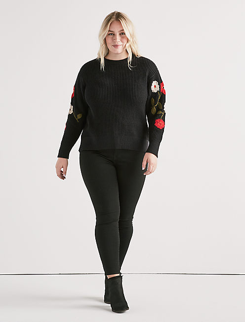 Lucky Floral Embroidered Sweater