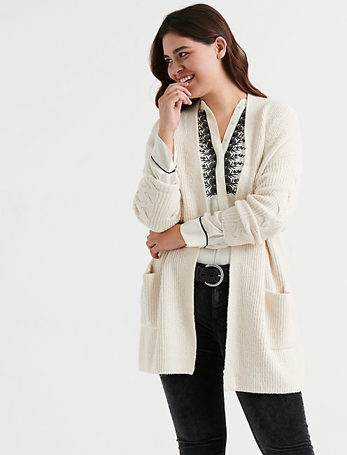 VENICE CABLE CARDIGAN, SNOW WHITE