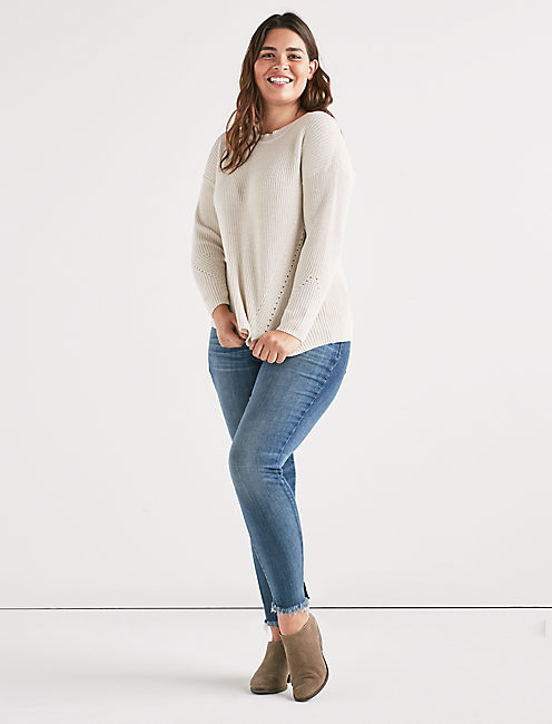 Lucky Back Lace Pullover Sweater