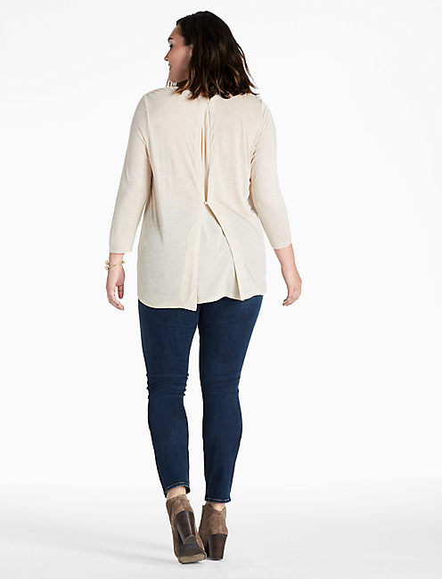 WOVEN MIXED TOP, NATURAL