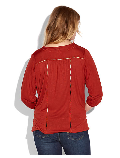 CAILEY CUTOUT TOP, #6689 VINTAGE RUST RED