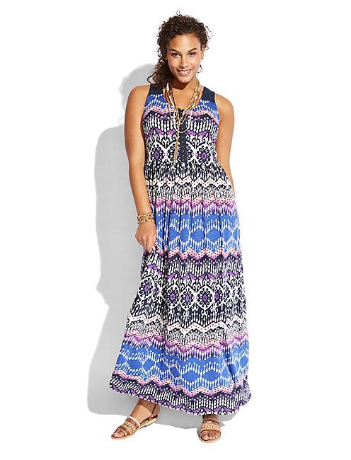 PRINT MAXI  DRESS, BLUE MULTI