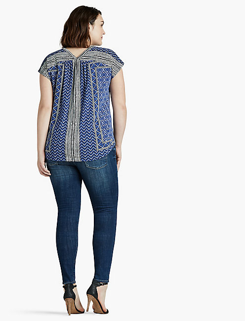 PRINTED BUTTON FRONT TOP,