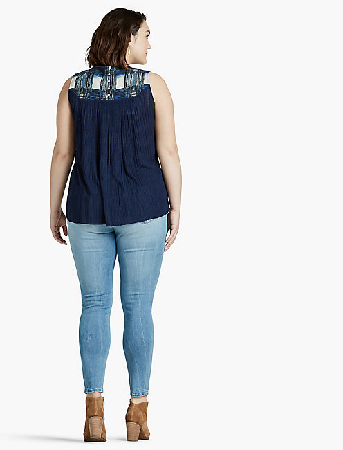 EMBROIDERED YOKE TANK,