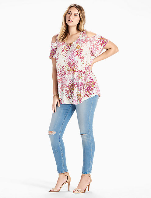 FLORAL COLD SHOULDER TOP,