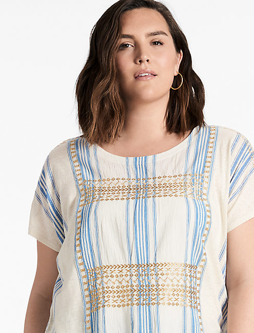 METALLIC EMBROIDERED TOP,