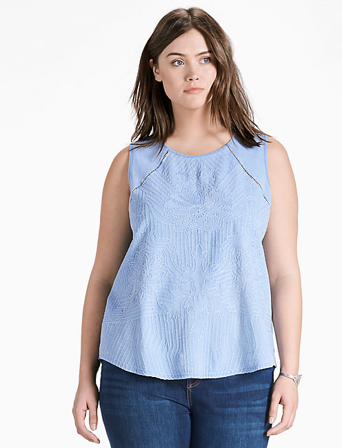 WASHED EMBROIDERED SHELL TOP,