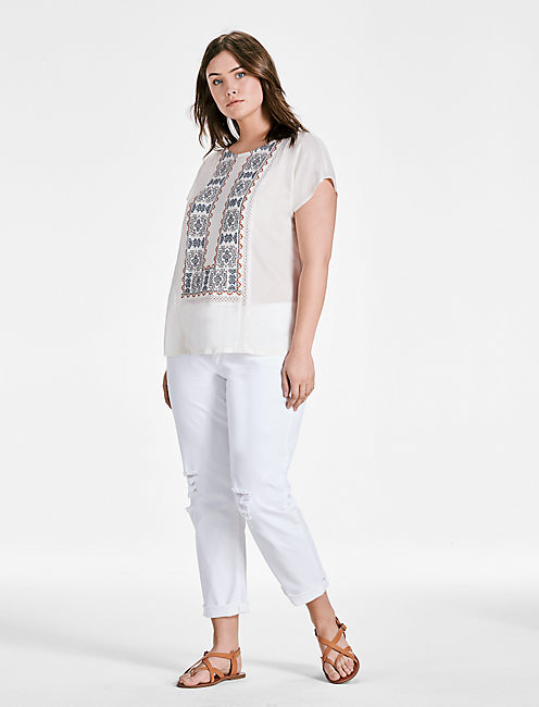 Lucky Embroidered Mix Top