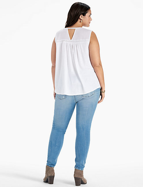 EMBROIDERED PINTUCK TANK,