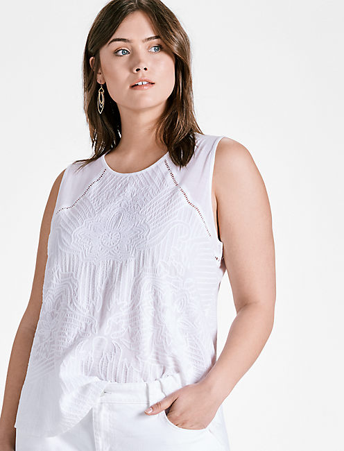 EMBROIDERED SHELL TOP, BRIGHT WHITE