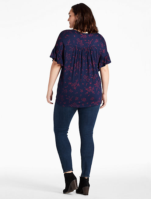 LACE SLEEVE TRIM TOP,