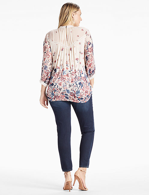 FLORAL MIXED PRINT TOP,