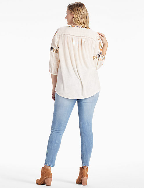 LACE UP EMBROIDERED TOP,