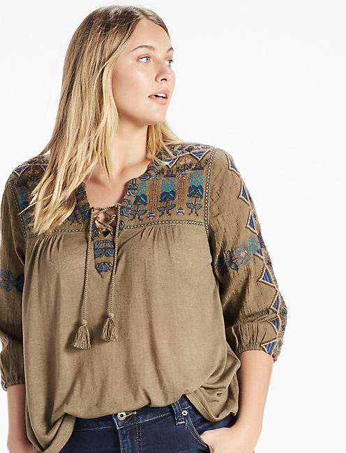 LACE UP EMBROIDERED TOP, OLIVE NIGHT