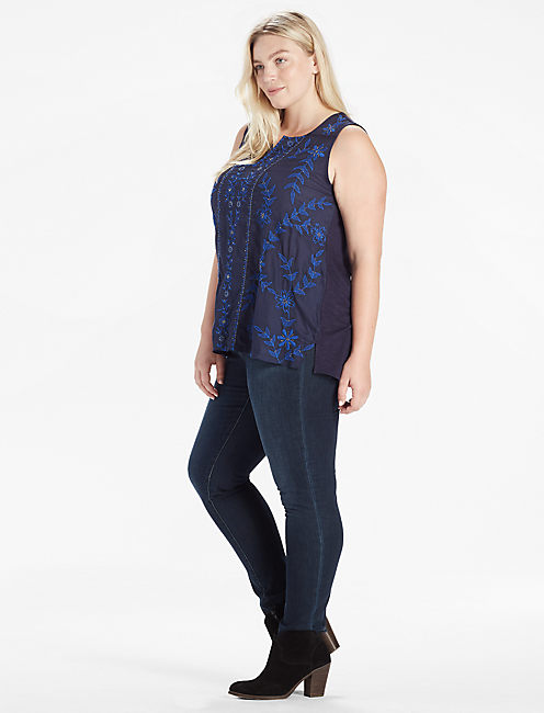 EMBROIDERED BEADED SHELL TOP,