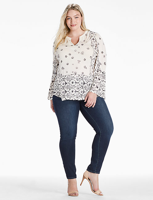 MIX GEO PEASANT TOP, NATURAL MULTI
