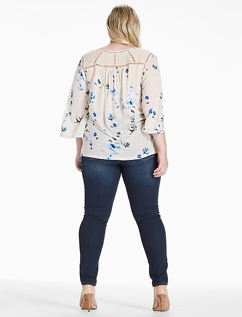 FLORAL LACE MIX PEASANT TOP, NATURAL MULTI
