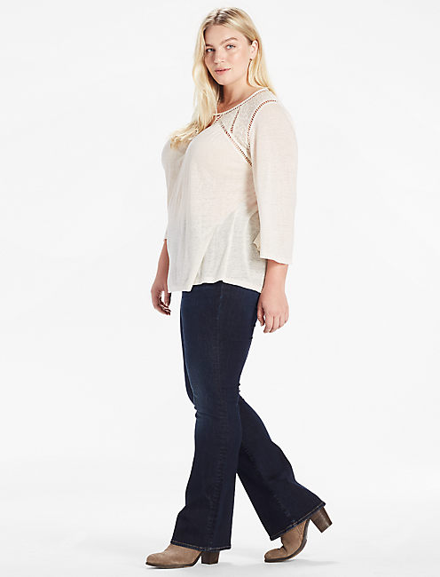 DITZY LACE MIX PEASANT TOP, EGGSHELL
