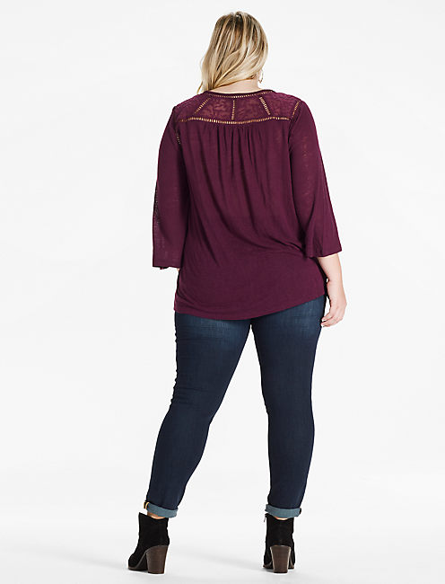 DITZY LACE MIX PEASANT TOP, PICKLED BEET