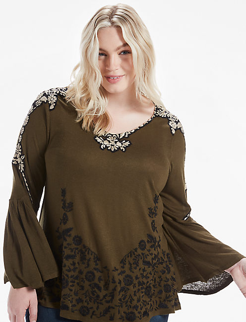 EMBROIDERED BELL SLEEVE TOP, OLIVE