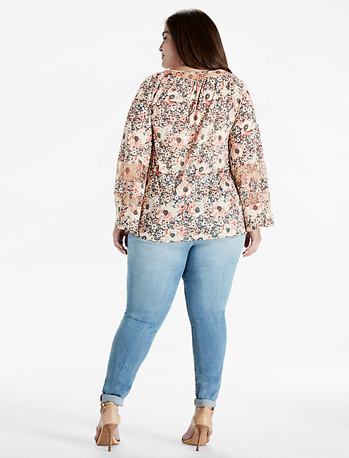 PRINTED WOVEN MIX PEASANT TOP,