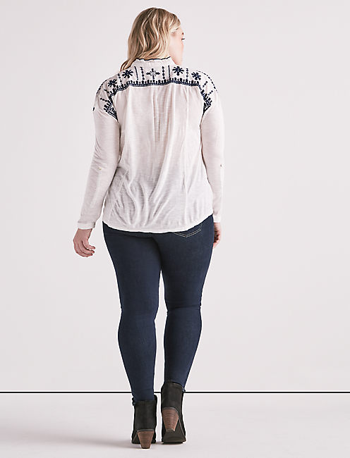 EMBROIDERED SCALLOP SHIRT,