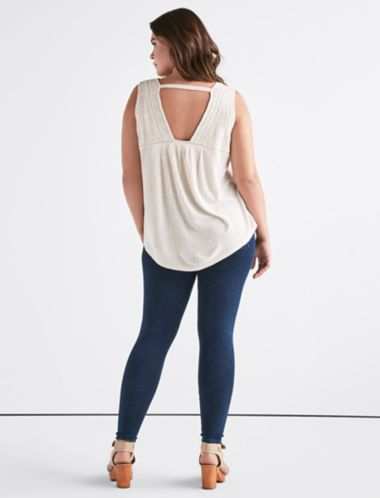 Lucky Drop Needle Lace Up Tank