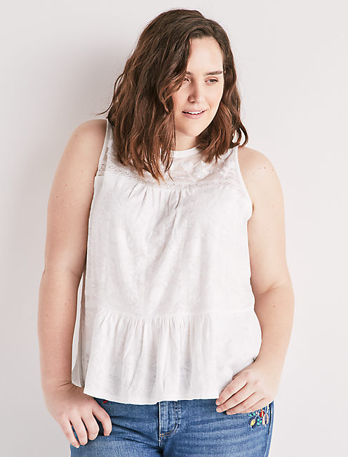 TIERED JACQUARD TANK, LUCKY WHITE